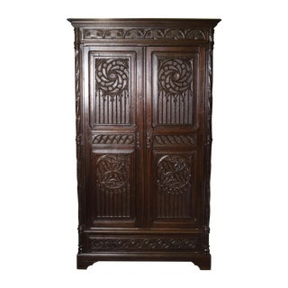 Antique 19th C. Italian Gothic Armoire