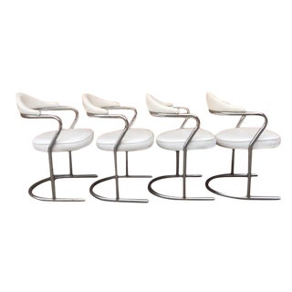 Mid-Century Modern Tubular Chrome Dining Chairs- Set of 4