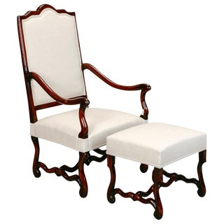 Os De Mouton Arm Chair with Matching Footstool