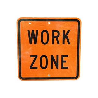 Vintage 1980s Authentic Metal Work Zone Sign
