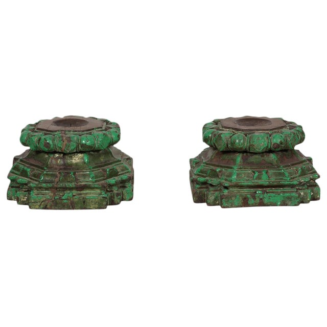 Hand-Chiseled Green Candleholders - A Pair - Image 1 of 3