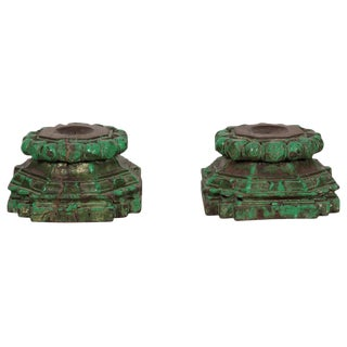 Hand-Chiseled Green Candleholders - A Pair