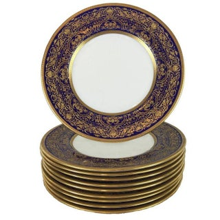 Royal Doulton Cobalt & Gilt Dinner Plates - Set of 8