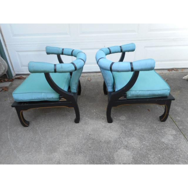 James Mont Style Asian Lounge Chairs - A Pair - Image 2 of 11