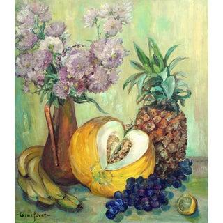 Vase of Strawflowers & Fruit Still Life Painting
