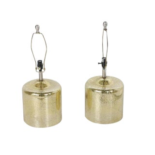 Mercury Gold Tone Blown Glass Table Lamps - A Pair