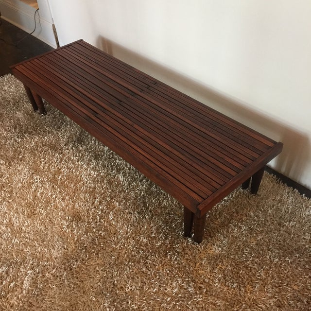 Brown Saltman Mid-Century Expandable Slat Bench - Image 4 of 9