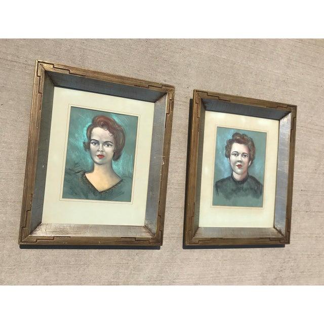 Vintage Chalk Pastels Female Portrait Drawing - Image 9 of 9