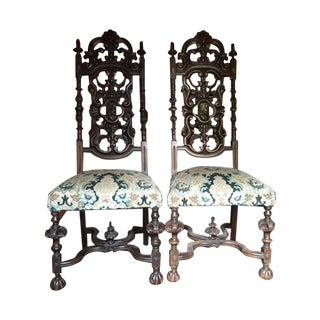 William and Mary Tall Back Chairs C. 1695 - Pair
