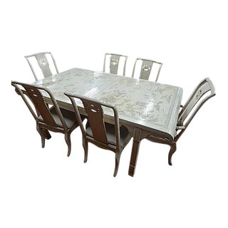 Drexel White Lacquer Oriental Modern Dining Table & Chairs - Set of 7