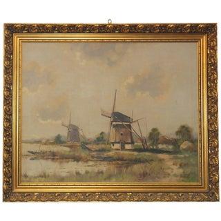 Leon Banilivi Wind Mill Painting, Signed Herman