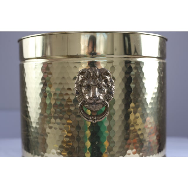 Image of Large Neo Classical Brass Planter - Lion's Heads