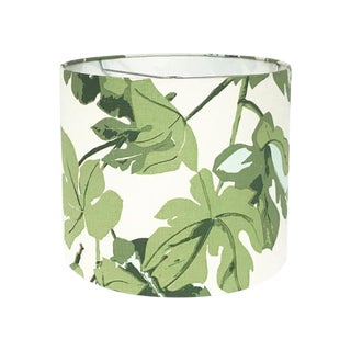 Green Fig Leaf Drum Lamp Shade