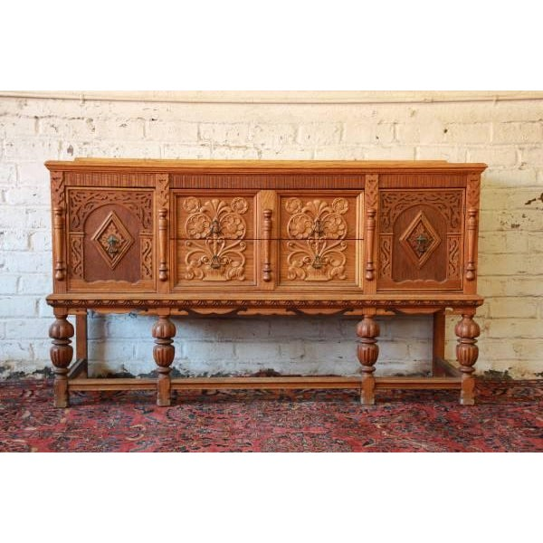 Antique Spanish Revival Oak Sideboard Buffet - Image 2 of 8