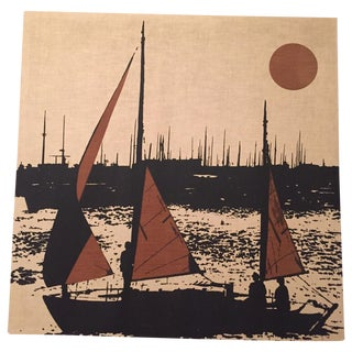 Vintage 1970s Sailing Fabric Wall Hanging