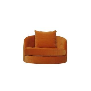 Milo Baughman for Thayer Coggin Orange Tub Chair and Ottoman