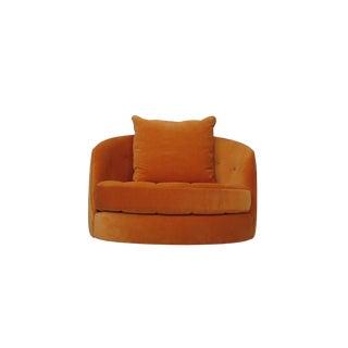 Milo Baughman for Thayer Coggin Orange Tub Chair and Ottoman