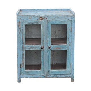 Sky Blue Glass Door Cabinet