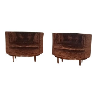 Tufted Barrel Chairs - A Pair