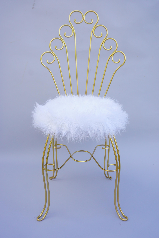 Vintage Hollywood Regency Gold Metal U0026 Faux Fur Vanity Chair   Image 2 Of 11
