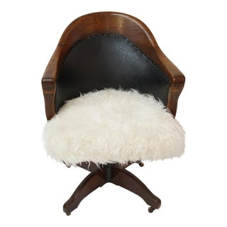 Antique Oak Bankers Swivel Chair With Mongolian Fur