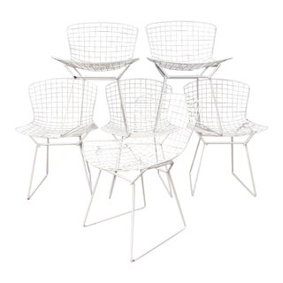 Harry Bertoia Knoll White Dining Chairs - Set of 6