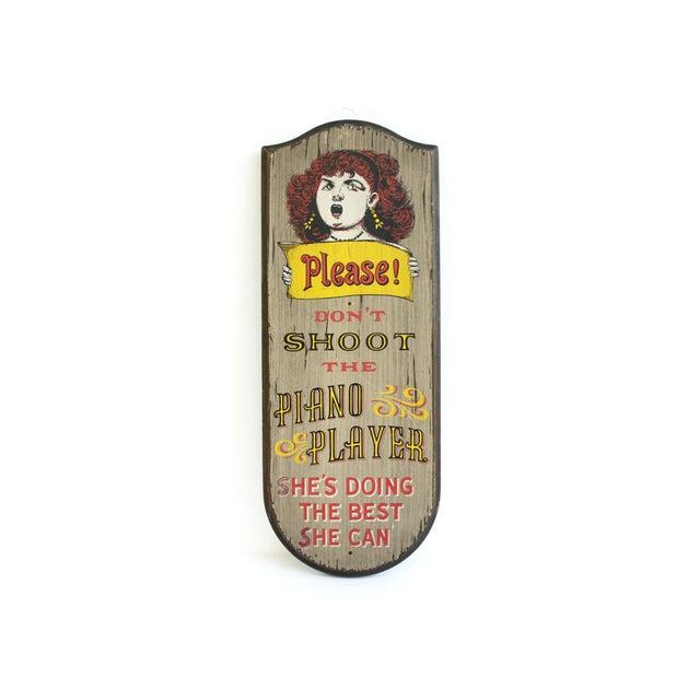 "Image of Vintage Bar Sign ""Piano Player"" Circa 1960s"