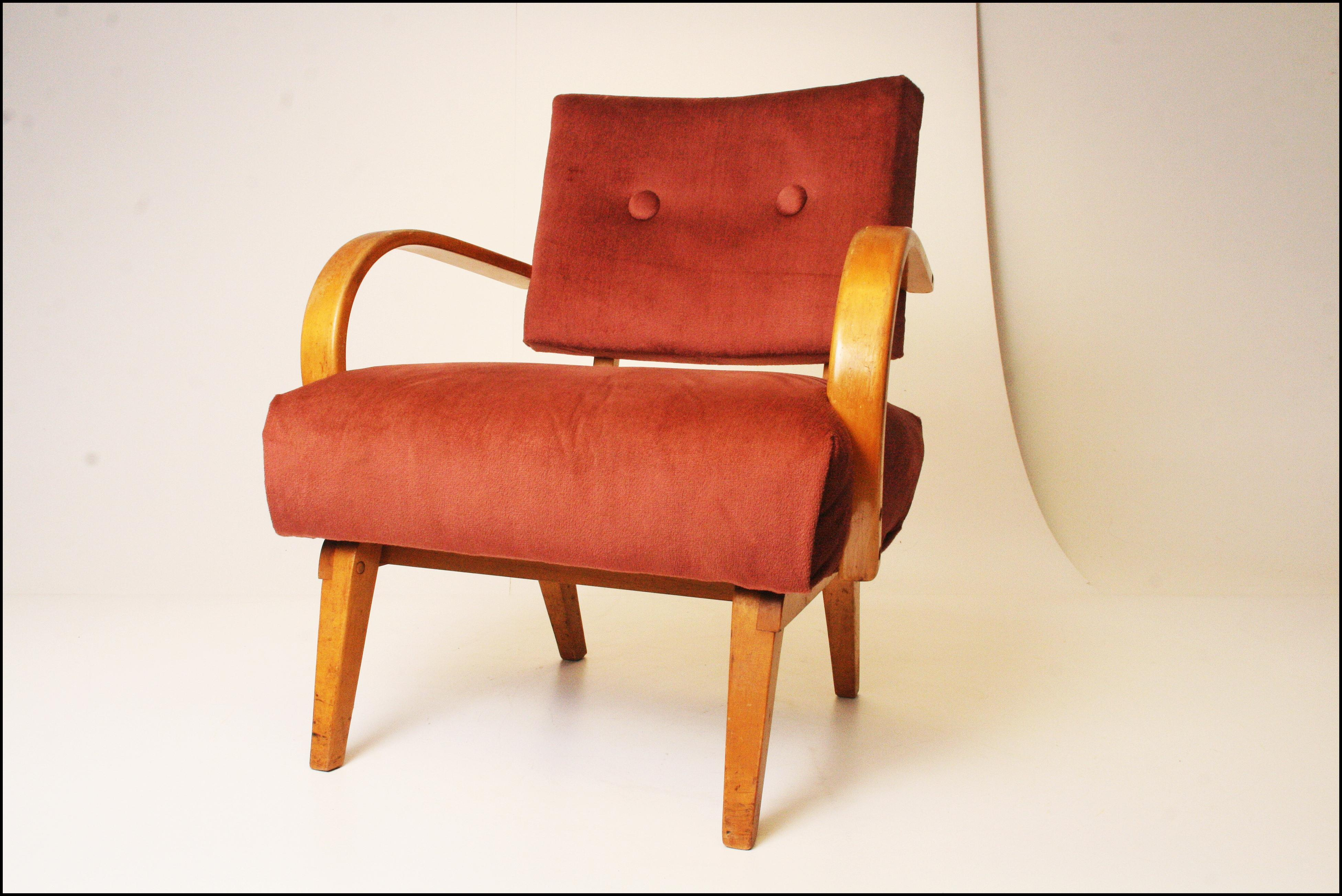 Mid Century Modern Pink Upholstered Lounge Chair