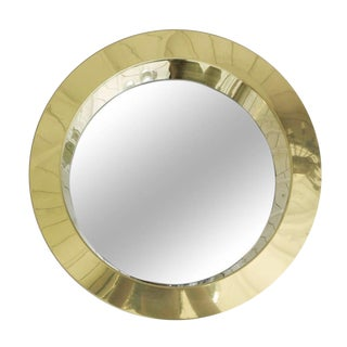 Curtis Jere Sculpted Brass Porthole Mirror