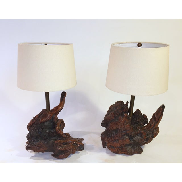 Image of Sculptural Wooden Lamps - Pair