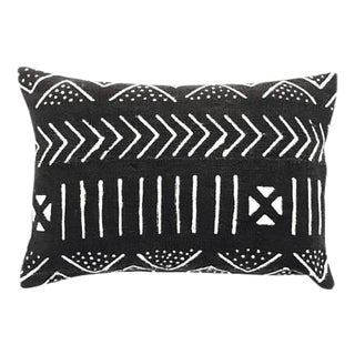 "Black Mudcloth Pillow Cover - 14"" x 20"""