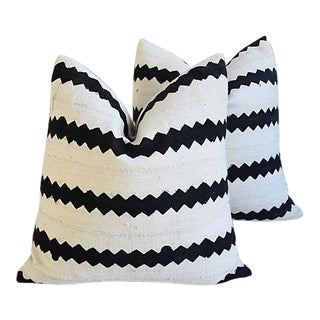 """22"""" Custom Cotton & Linen Abstract Feather/Down Pillows - Pair"""