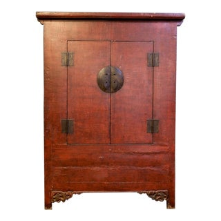 Large Chinese Red Lacquer Two Drawer Cabinet Armoire