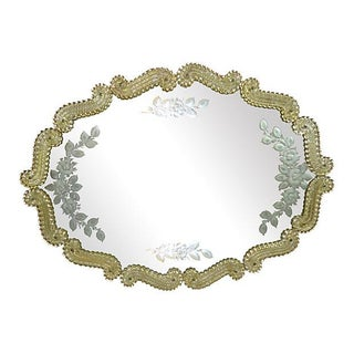 Murano Glass Mirror with Edged Rose Branches