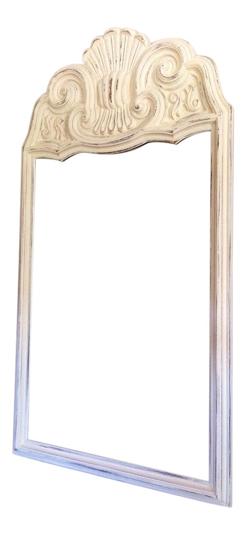 large white washed scrolled mirror