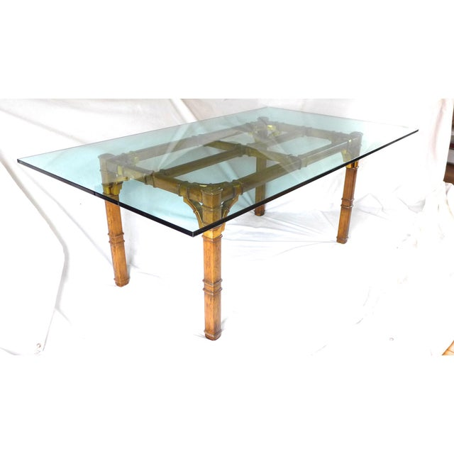 hollywood regency bamboo glass dining table chairish. Black Bedroom Furniture Sets. Home Design Ideas