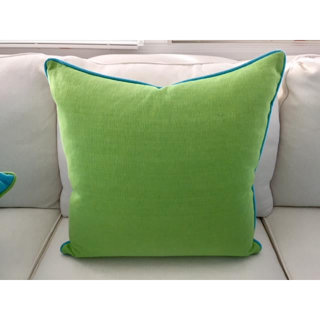 Lime Green With Turquoise Contrast Welt Pillow - Image 4 of 6