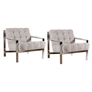 Pair of Milo Baughman Style Lounge/Club Chairs in Cut Linen Velvet