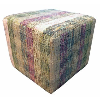 Cube Ottoman in Muted Purple and White Stripes