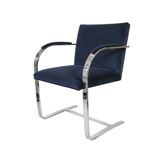 Flat Bar Navy Velvet Brno Chair