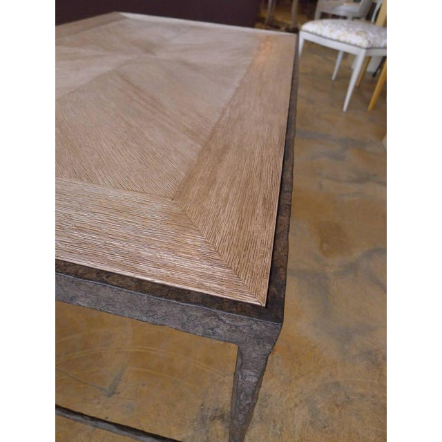 Customizable Paul Marra Textured Iron and Wood Coffee Table - Image 8 of 9