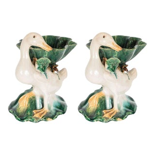 Antique Pair of Ceramic Hand Painted Duck Form Pottery Brush Washers