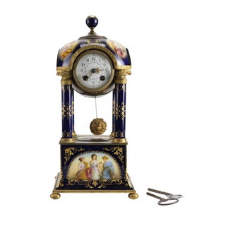 19th Century Royal Vienna Style Hand Painted Porcelain & Bronze Mantel Clock