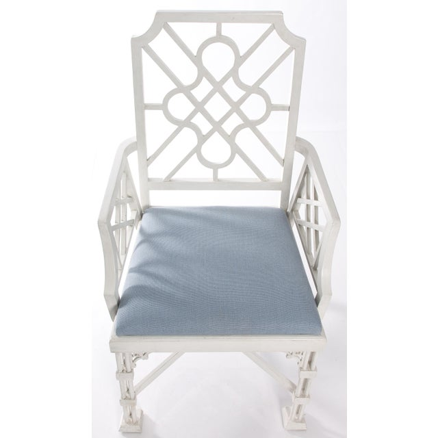White Painted Chinese Chippendale Style Fretwork Armchairs - A Pair - Image 6 of 8