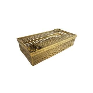 Vintage Gold Brass Hollywood Regency Filigree Tissue Box Holder Cover