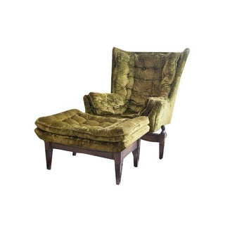 Green Tufted Velvet Rocking Bucket Chair & Ottoman