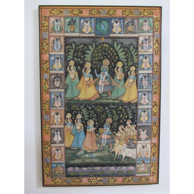 Image of Vintage Hand Painted Indian Silk Tapestry