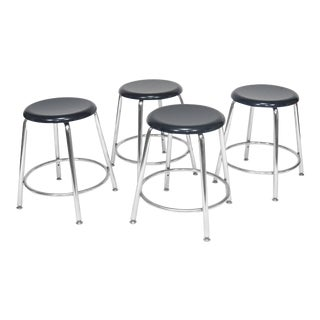 Heywood-Wakefield Heywoodite Chrome Stools With Blue Seats - Set of 4