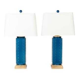 Modern Porcelain & Gold Leaf Lamps - A Pair