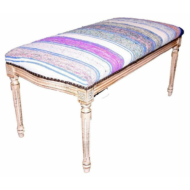 Bench Upholstered In Blue White And Purple Kilim Chairish